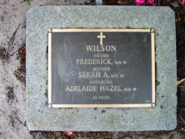Adeline Wilson and family grave - before
